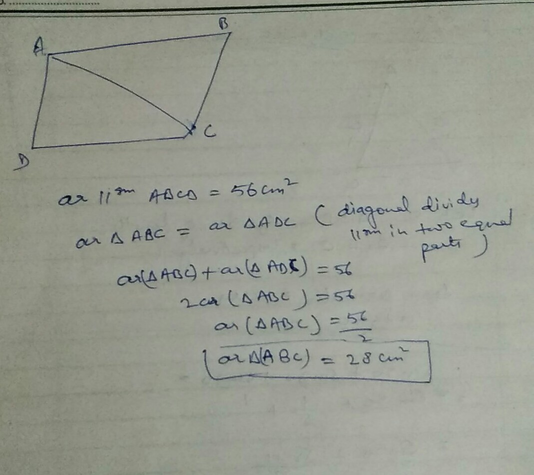 In Parallelogram Abcd Find Area Of Triangle Abc If Area Of
