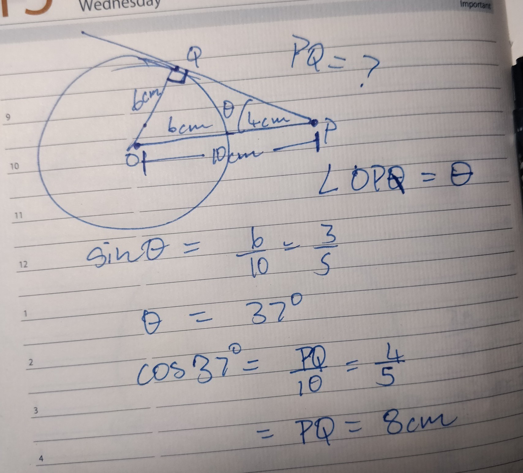 Find The Length Of A Tangent Drawn From A Point 10cm Away