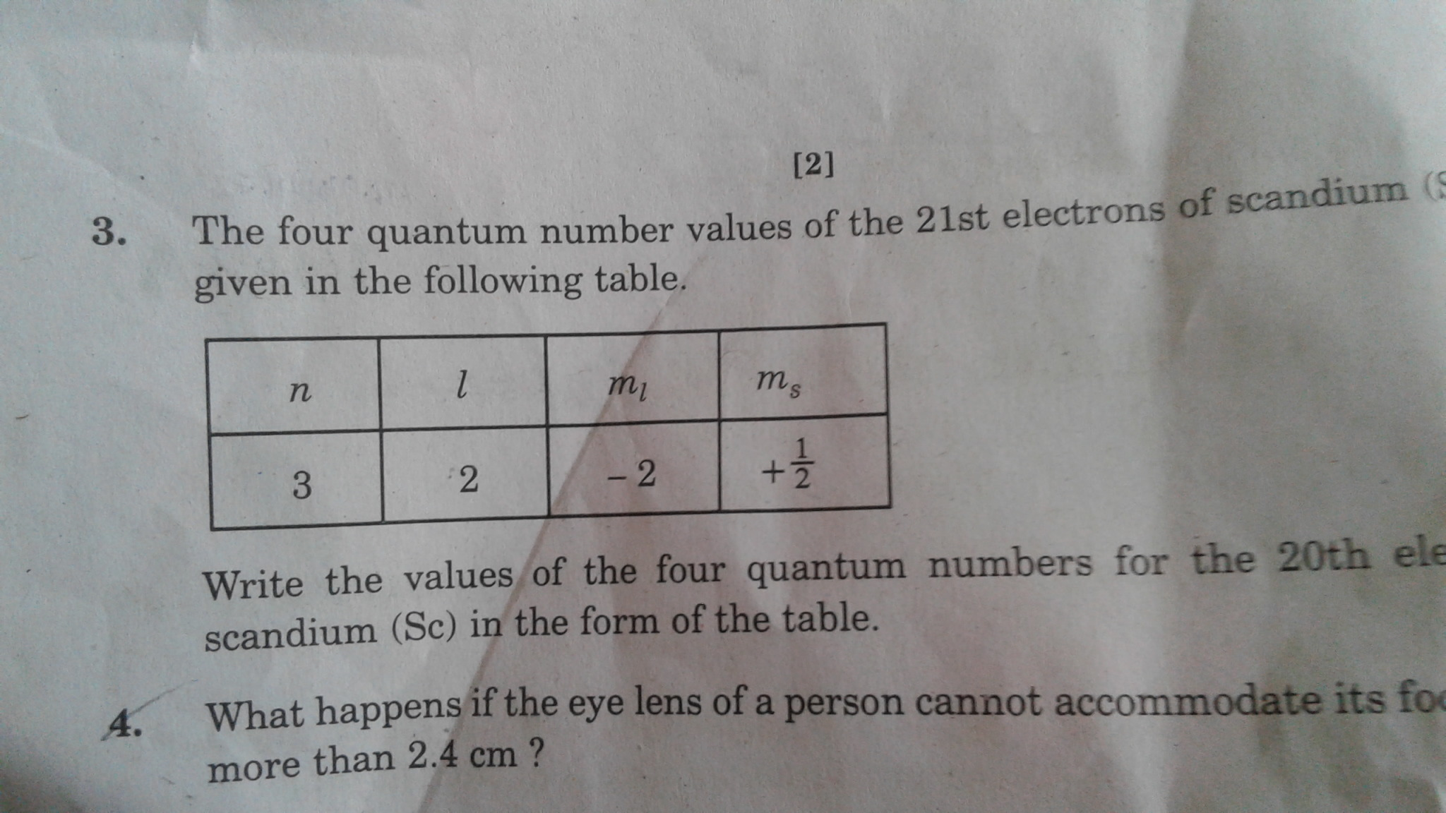 Write The Values Of The Four Quantum Numbers For 20th Electron For Scandium