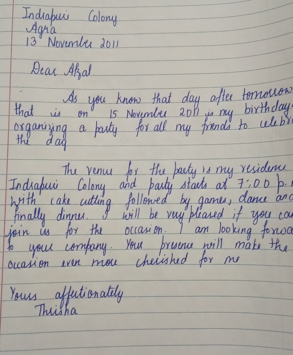 a letter to you friend afzal who lives