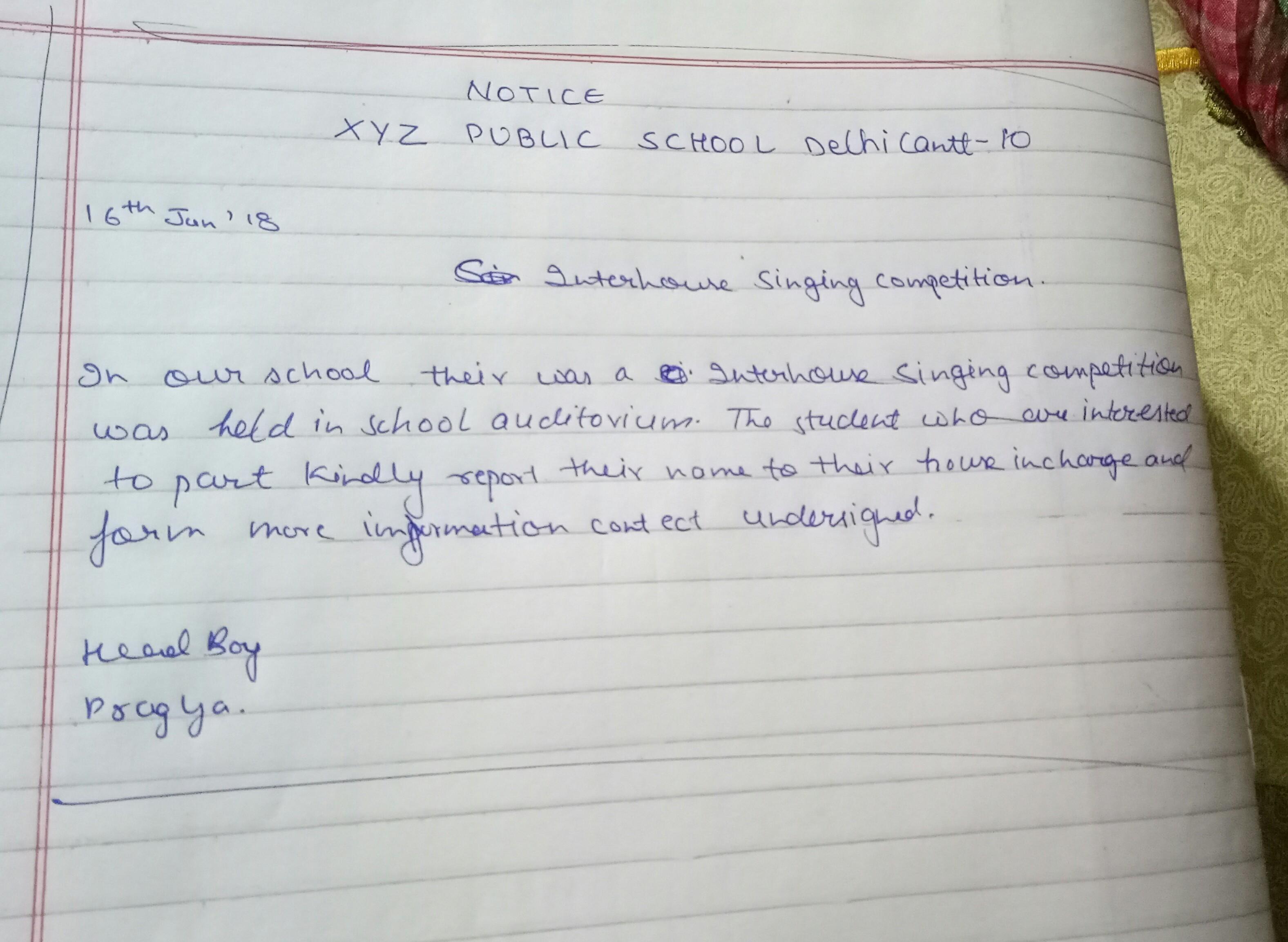 You Are Pragya Head Boy Of Your School Write A Notice
