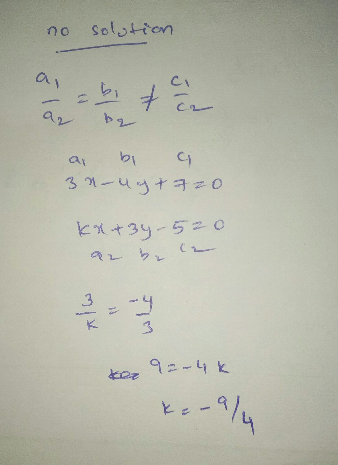 Find The Value Of K For Which The Following System Of