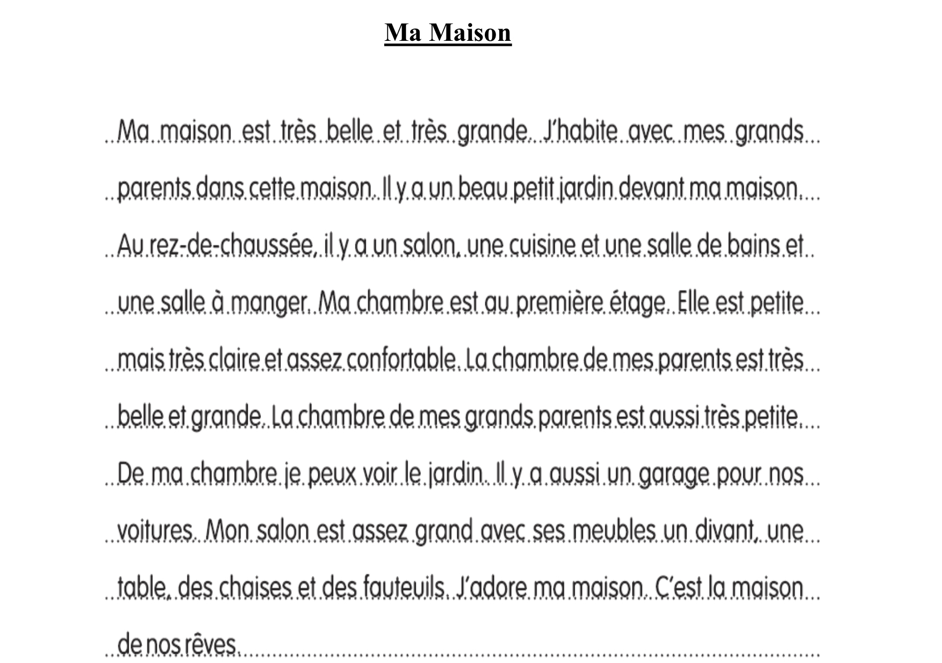 Essay In French About My House