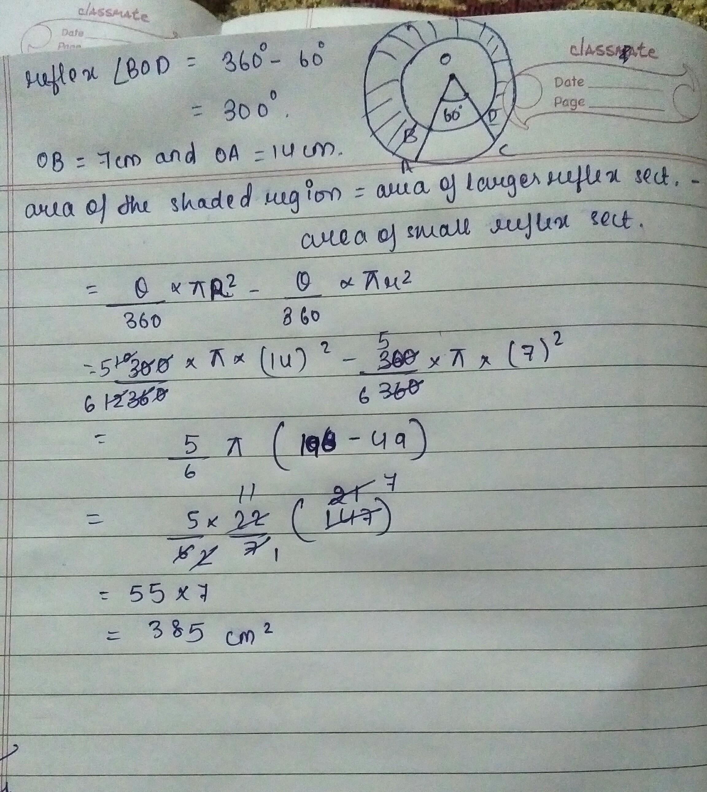 Find The Area Of Shaded Region In Figure Where Radius Of