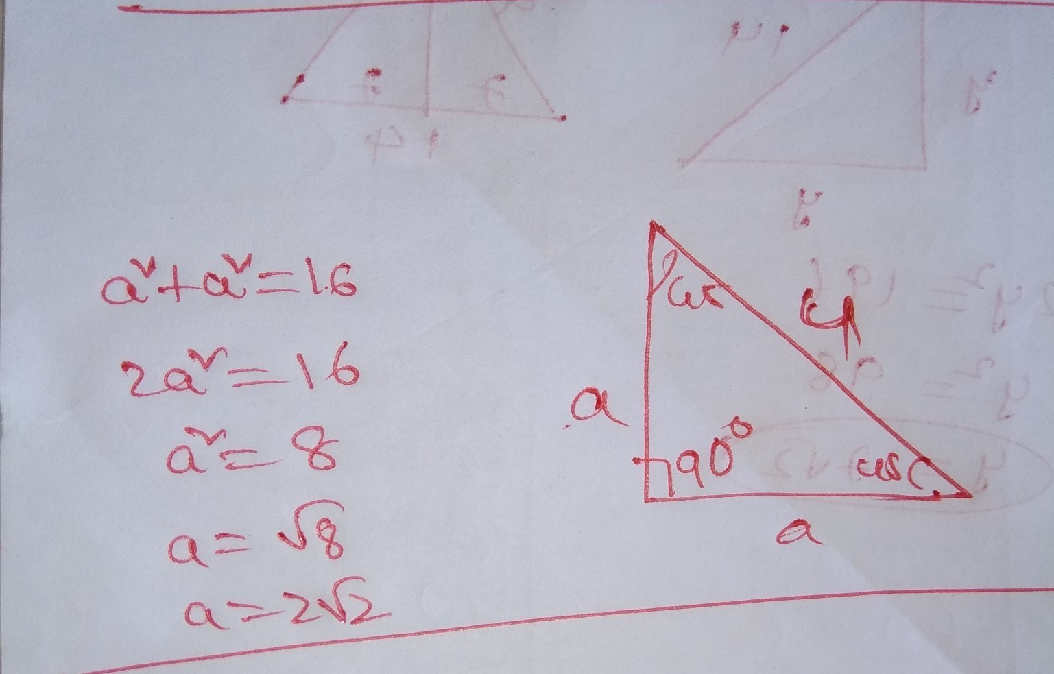 The Hypotenuse Of A 45 45 90 Triangle Measures 4cm What