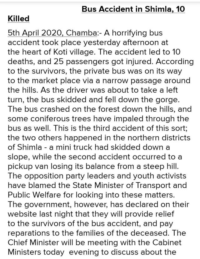 write a newspaper report on a bus accident taking idea from the