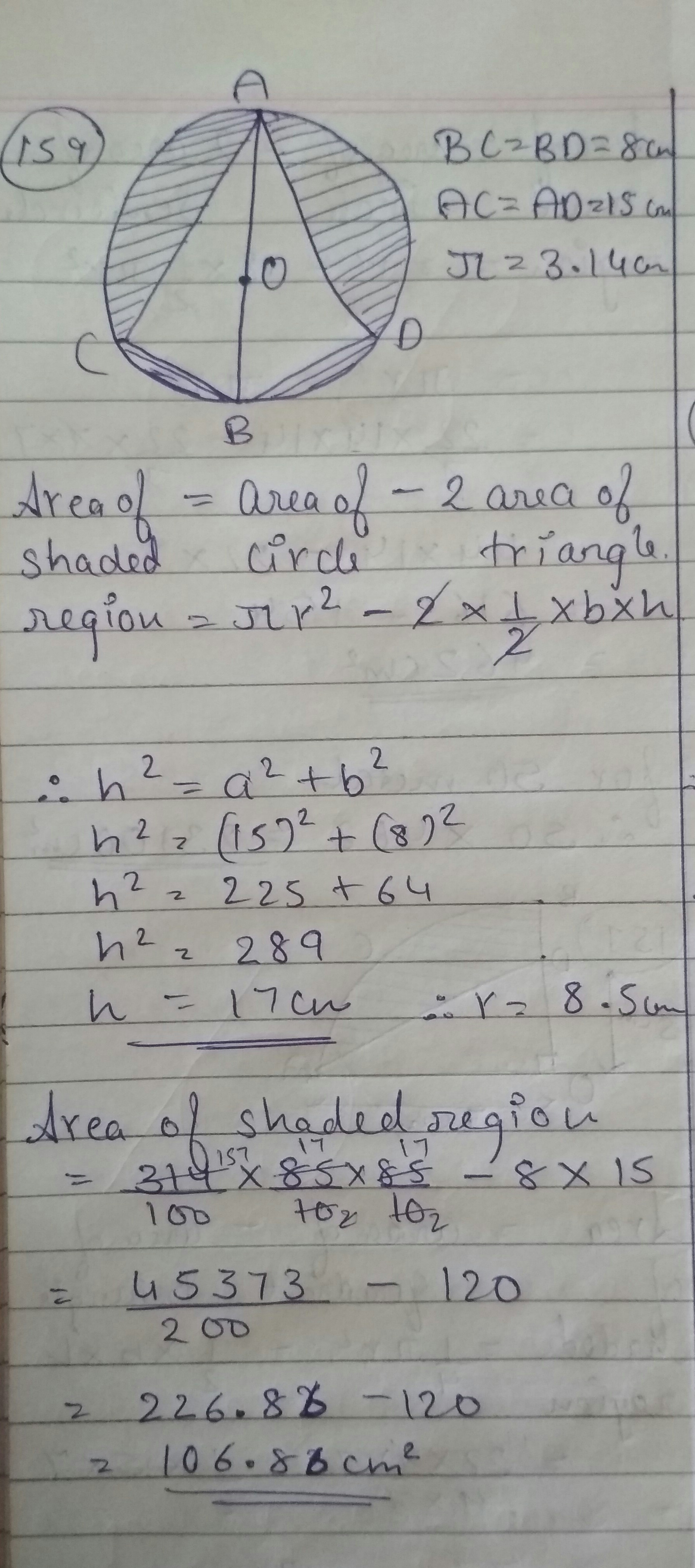 Find The Area Of Shaded Region In Figure If Bc Bd 8cm And