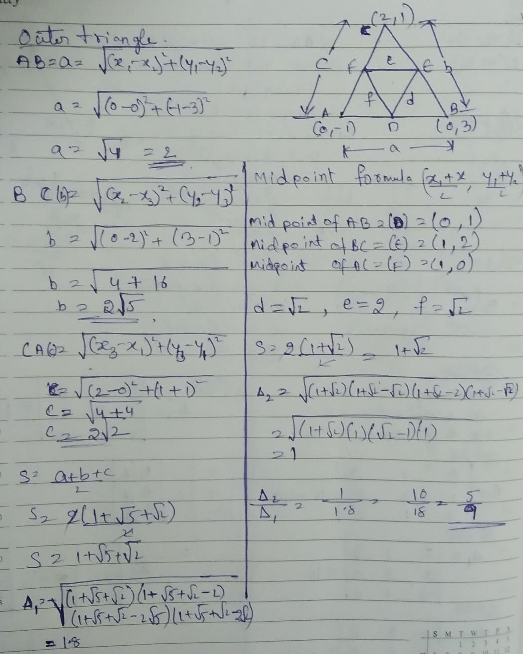 Find The Area Of The Triangle Formed By Joining The Mid