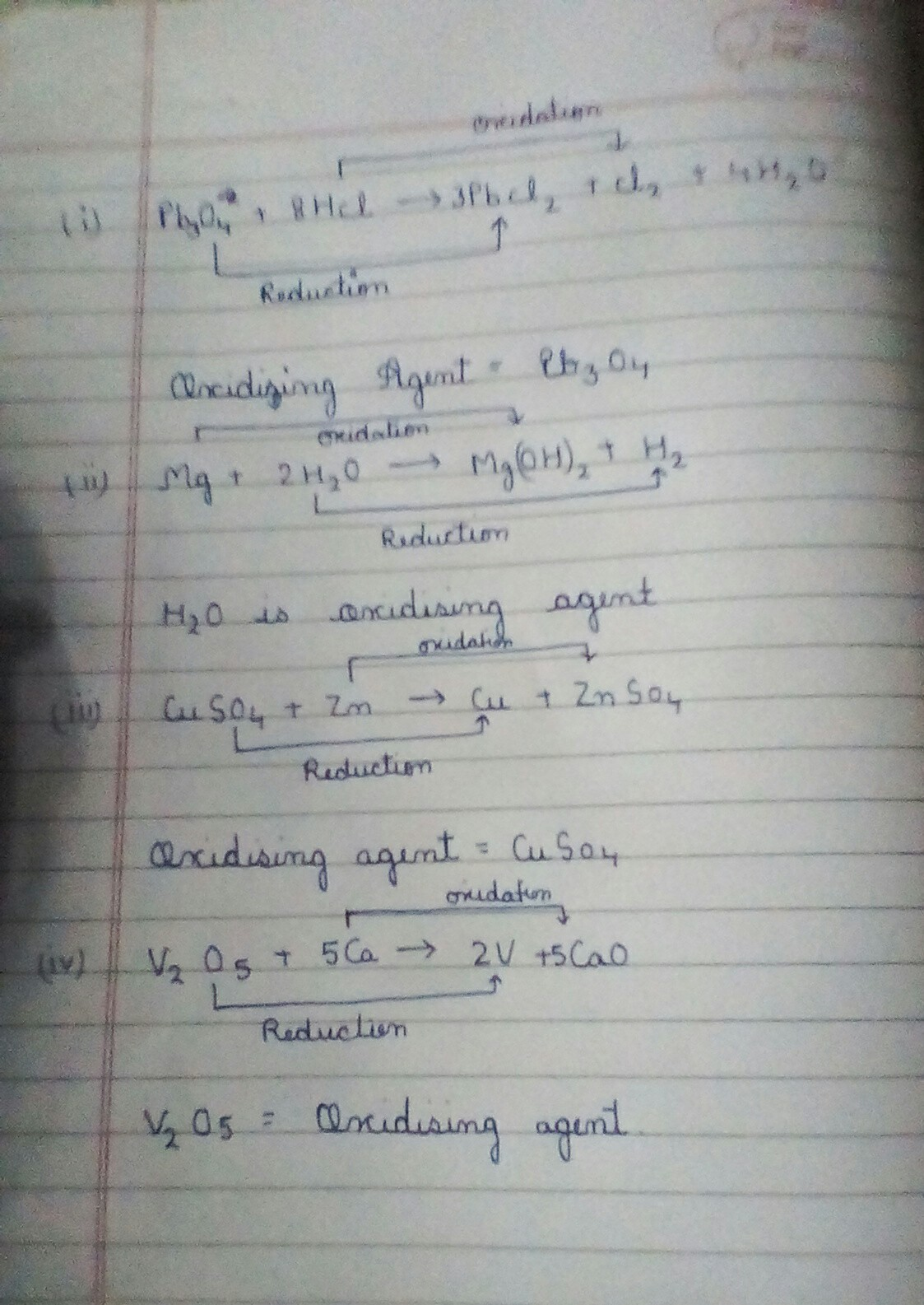 16 Identify The Oxidising Agent Oxidant In The