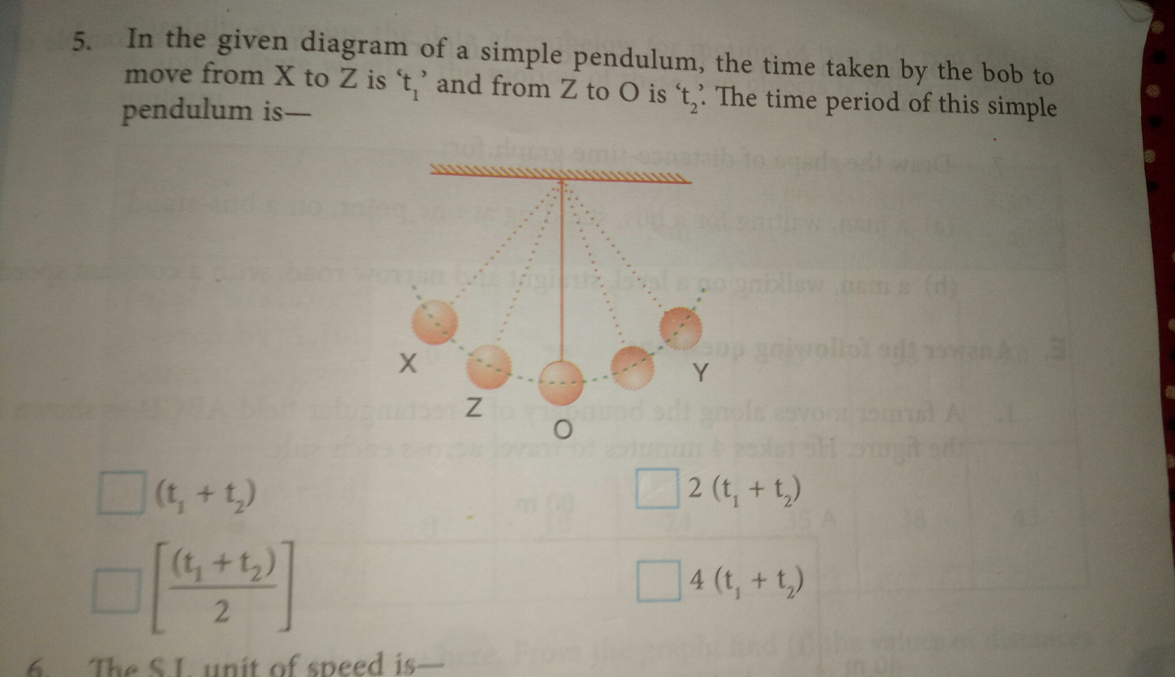 In The Given Diagram Of A Simple Pendulum The Time Taken