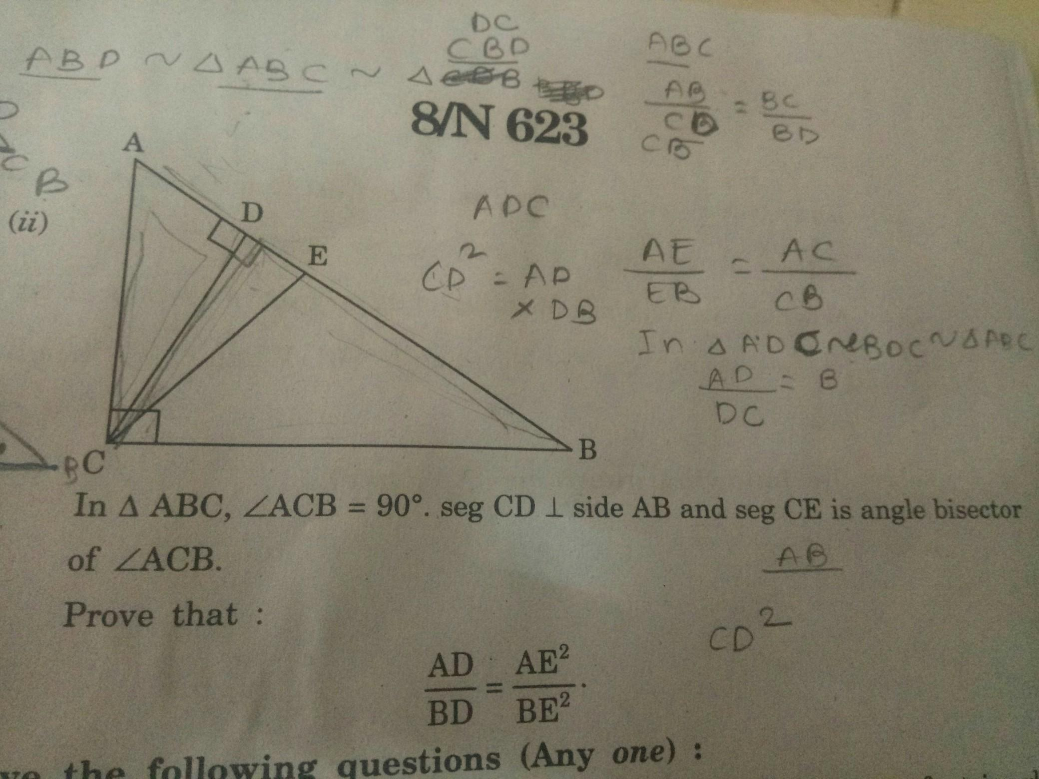 In Triangle Abc Angle Acb Is Equal To 90 Degree Seg Cd Is