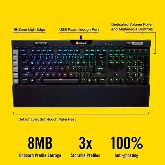 1. أفضل لوحة مفاتيح الكمبيوتر الألعاب CORSAIR K95 RGB PLATINUM