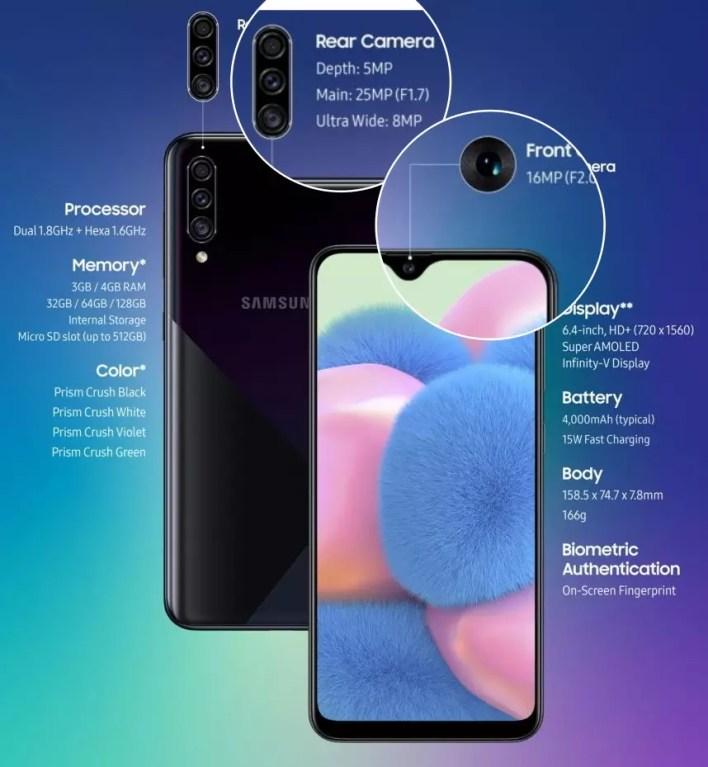 سعر ومواصفات الهاتف Samsung Galaxy A30s مع المميزات والعيوب