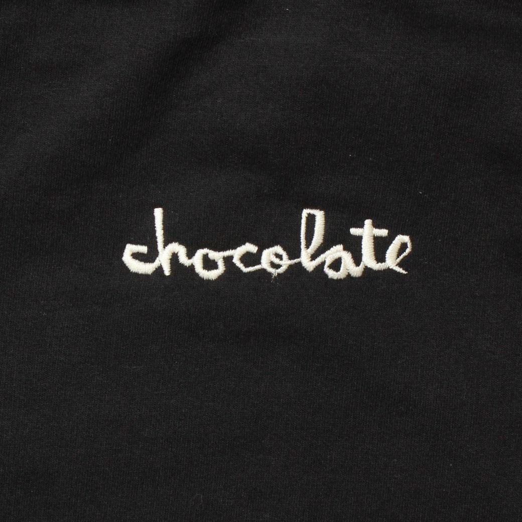 スケーター ファッション CHOCOLATE チョコレート EMBROIDERED MID CHUNK パーカー ブラック