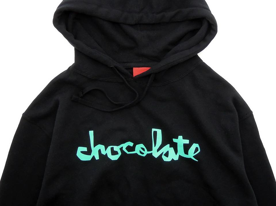 スケボー 通販 Chocolate チョコレート CHUNK チャンク FLUORESCENT パーカー ブラック プリント