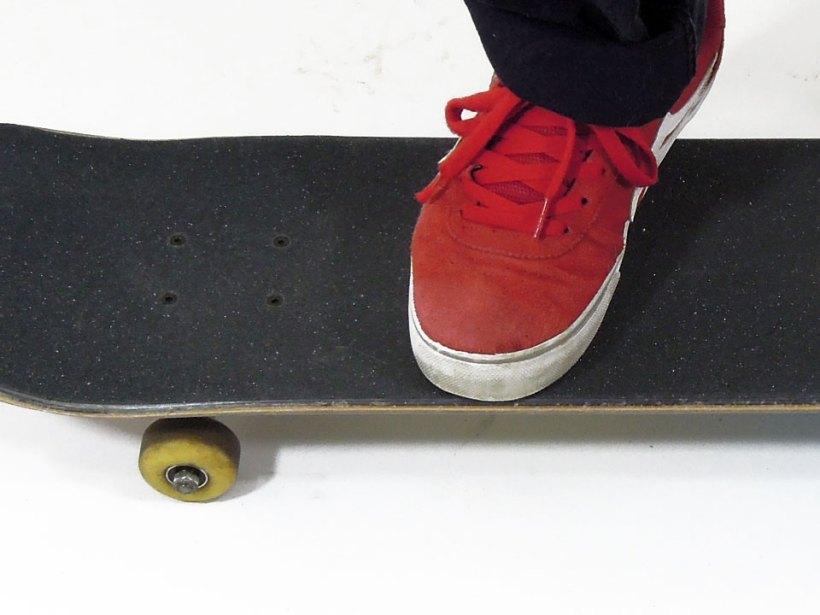 オーリーのスタンス 高さを出したい時は、前足を後ろ側に移動させる。