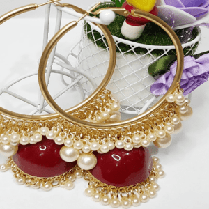 Jhumka Earrings Red and Gold