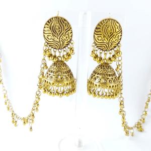Golden Dholki Jhumkas Earrings design with Price in Pakistan 2021