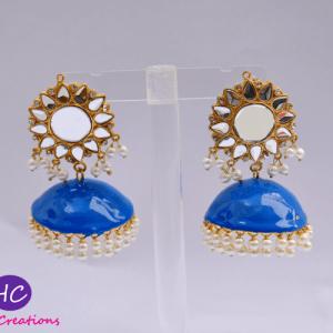 Blue Meenakari Jhumka Earrings design with Price in Pakistan 2021 Online