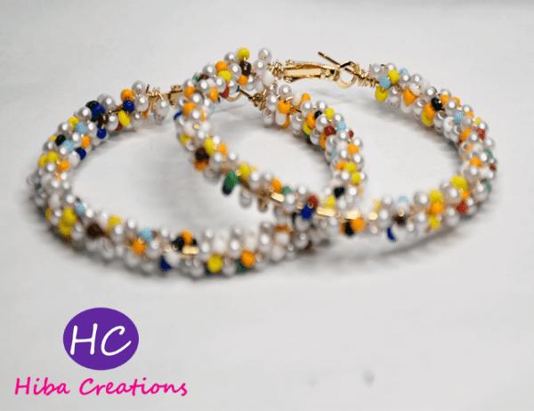 Multicolor Pearl Hoops Earrings design with price in pakistan 2021 online