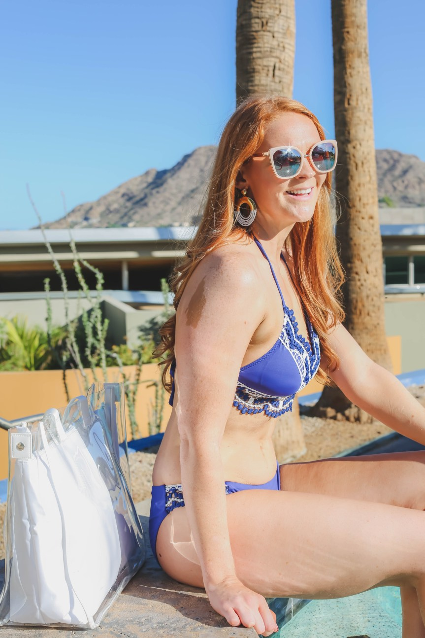 Fashion blogger swimwear at Sanctuary Resort in Arizona