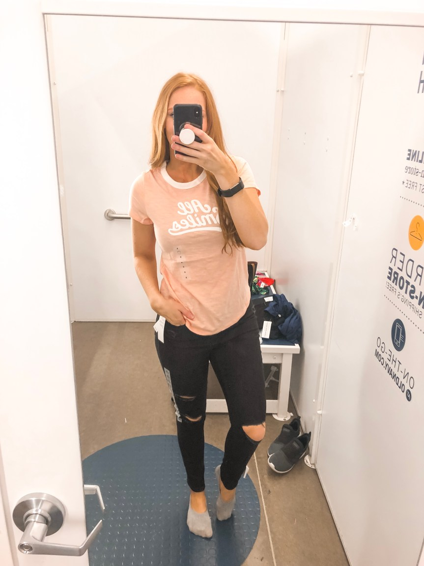 Old Navy Summer 2019 try on session graphic tee with Jeanst