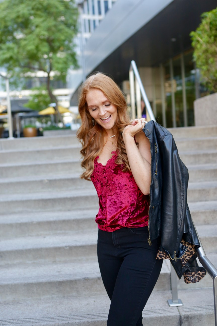 Fashion blogger Bella Hibbs shares lace and velvet tank top of Valentines Day