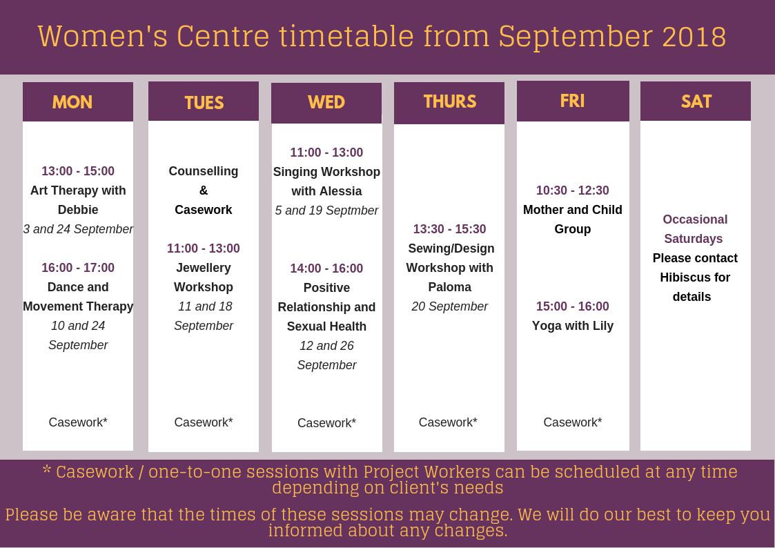 Women's Centre timetable – September