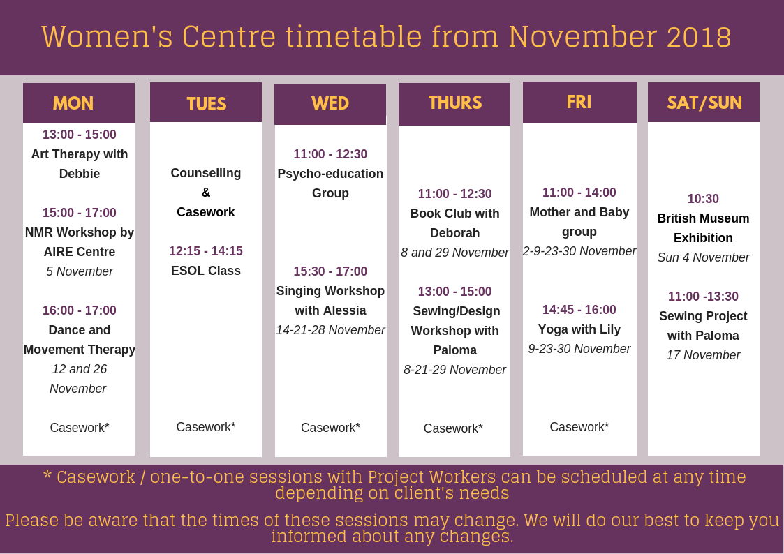 Women's Centre timetable – November