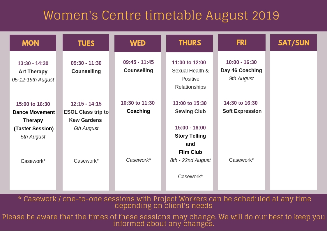 Women's Centre timetable – August 2019