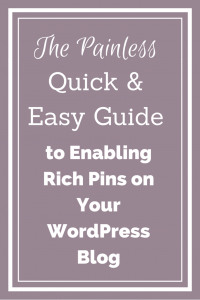 The painless, quick and easy guide to enabling Rich Pins on your WordPress blog. It's only 3 steps and will take less than 15 minutes!