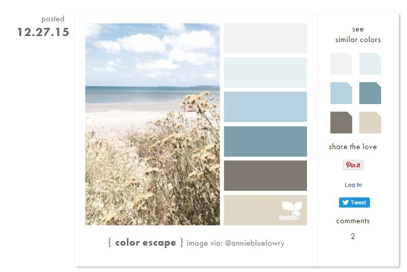 Use Design Seeds to find color themes and complimentary colors.