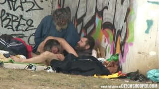 Street Homeless Still Having Fun With Their Skank