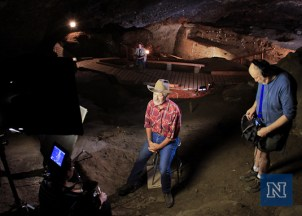 Interviewing Dr. David Hurst Thomas inside Hidden Cave.