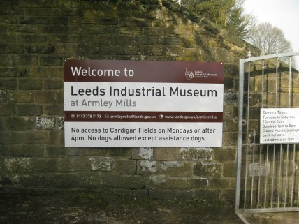 Armley Mills welcome sign. Photo by Ashley