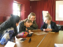 The group writing label cards. Photo by Ashley