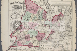 This is a map from the atlas Rachel Lipkin and Emily Griffin added metadata to for the New York Public Library. The map shows New York City and parts of New Jersey.