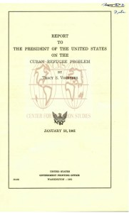 Cover of Voorhees' January 1961 report on the Cuban refugee problem