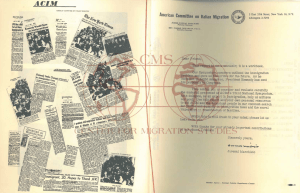 First page of material presented at the American Committee on Italian Migration's Third National Symposium