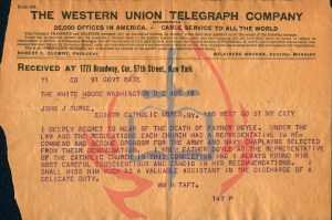 Watermarked Telegram from President William H. Taft to Father John J. Burke - August 10, 1912 about the recent passing of Paulist Father Alexander P. Doyle