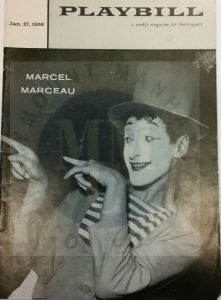 Playbill featuring Marcel Marceau from the William Harris Papers