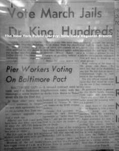 Images of microfilm from the Staten Island Advance article on Dr. Kings arrest in Selma 2/1/1965.