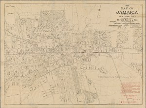 Map of the roads, buildings, and major landmarks of downtown Jamaica, Queens. Created with a black color printing on a tan sheet. Includes a red-lettered advertisement by Meynen, Booth, and Eno Long Island Real Estate