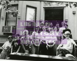 Taken in 1993, this photograph shows the Lesbian Herstory Archives (LHA) coordinators, or Archivettes, in front of LHA's new Brooklyn location.