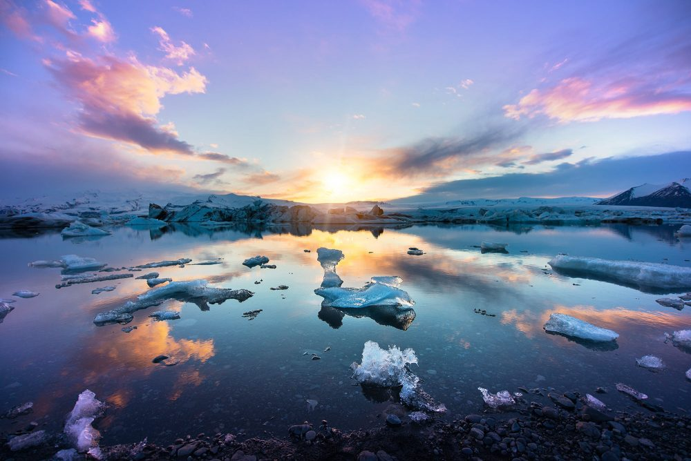Iceland Midnight Sun Over Jökulsárlón Glacier Lagoon | Hidden Iceland | Photo by Tom Archer