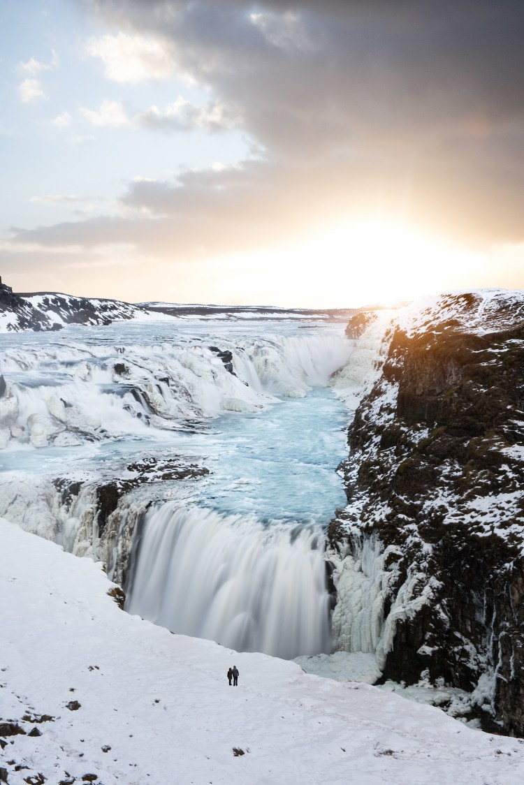 Golden Hour over Gullfoss waterfall | Winter Lights photo tour with Tom Archer & Wahyu Mahendra | Hidden Iceland | Photo by Tom Archer