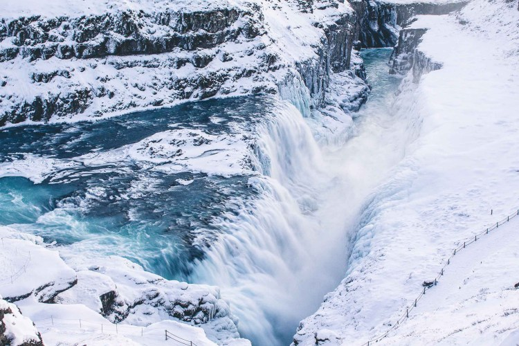 The Gullfoss waterfall in winter in the Golden Circle. Photo taken by Norris Niman. Featured.