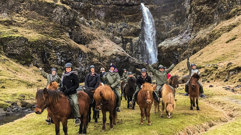 Horse Riding | Waterfall | Írárfoss | Eyjafjallajökull | Group | Hidden Iceland | Photo Skálakot