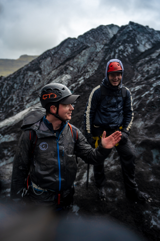 Chatting on the Sólheimajökull Glacier. Photo taken by Danny Mcgee.