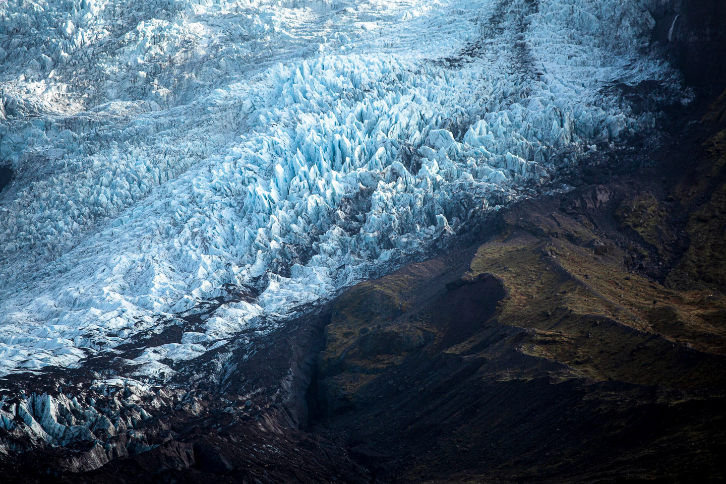 Falljökull glacier ice fall. Hidden Iceland. Photo by Dennis Stever. Feature